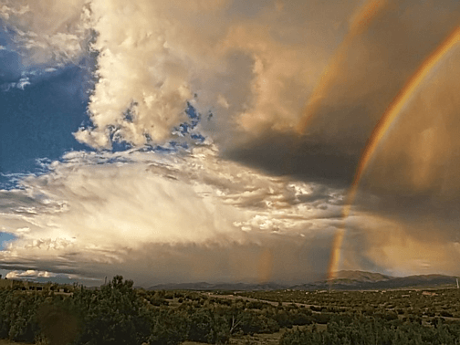 Santa Fe Summer Sky with Double Rainbow